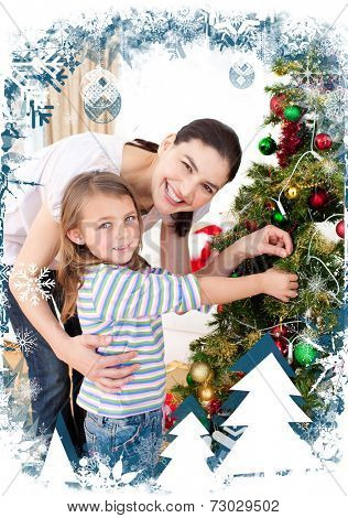 Mother and daughter at home at Christmas time against christmas themed frame