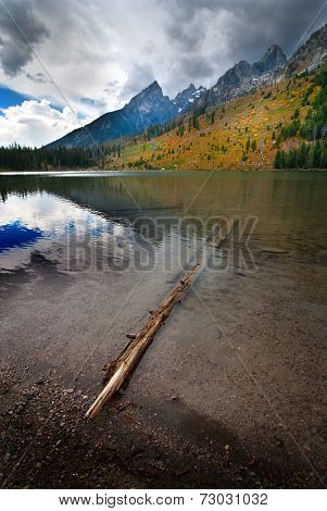 Detail of String Lake in Tetons with Grand Teton in background