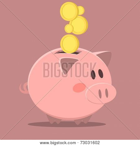 minimalistic illustration of a piggybank, eps10 vector