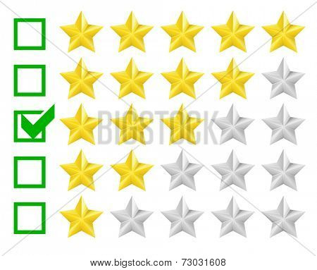 detailed illustration of a star rating system with checkbox at three stars, eps10 vector