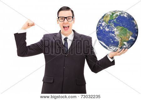 Successful businessman holding the world in his own hand isolated on white background, Earth image in public Domain and furnished by NASA
