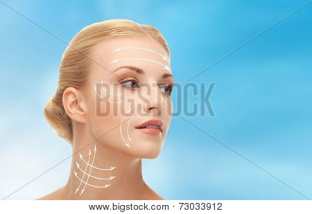 health, beauty, medicine concept - beautiful woman ready for plastic surgery or cosmetic procedure