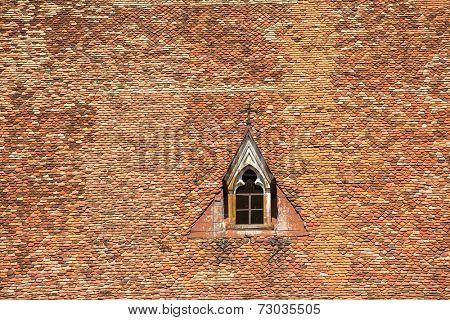Church of Saint Michael in Cluj Napoca, Romania. Gothic window close up