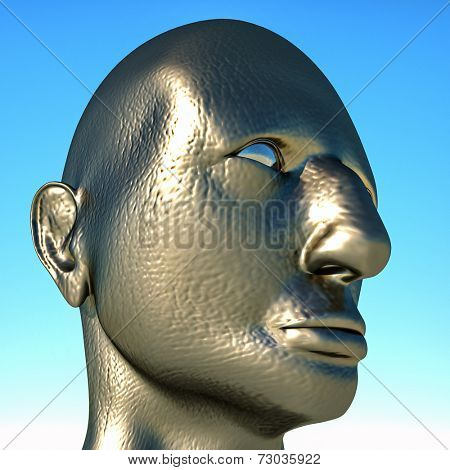 Portrait of dictator on blue sky background
