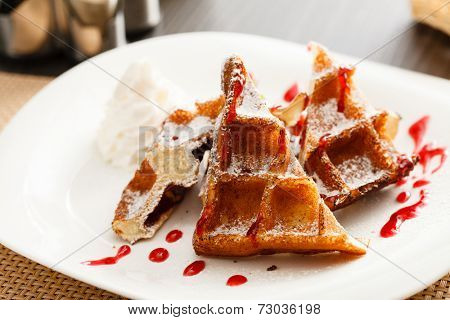 belgian waffle with whipped cream
