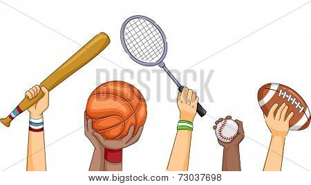 Cropped Illustration Featuring Hands Holding Different Sports Equipment
