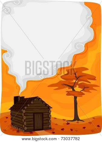 Background Illustration Featuring a Log Cabin with Smoke Coming From Its Chimney