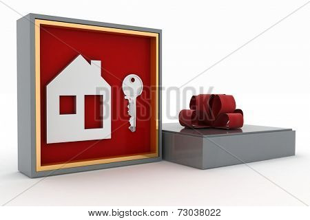 Key and symbol of house in gift box. Concept of your dream house.