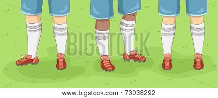 Cropped Illustration Featuring the Feet of Rugby Players