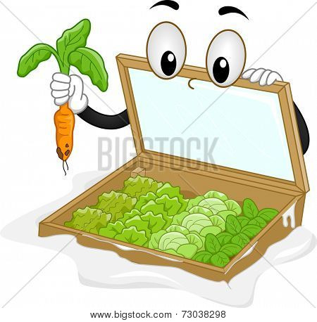 Mascot Illustration Featuring a Cold Frame Plucking a Carrot