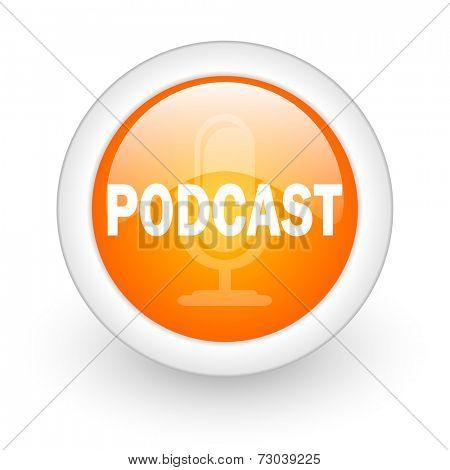podcast orange glossy web icon on white background