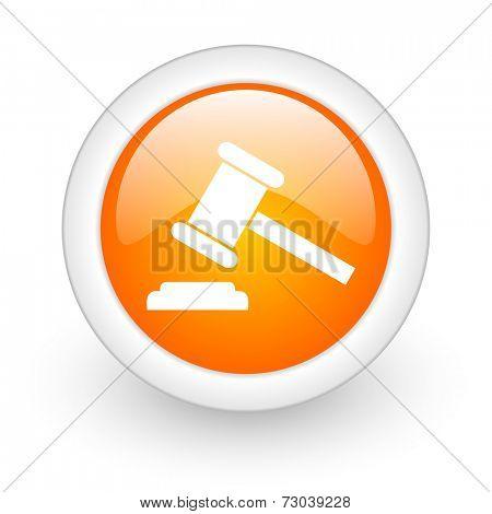 auction orange glossy web icon on white background