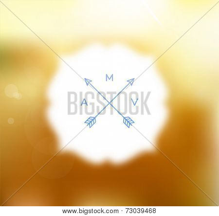 Vector Blurred Golden Background with Blurred Bokeh Frame.