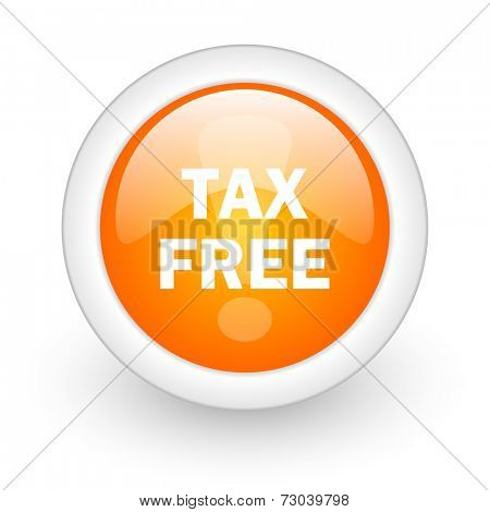 tax free orange glossy web icon on white background