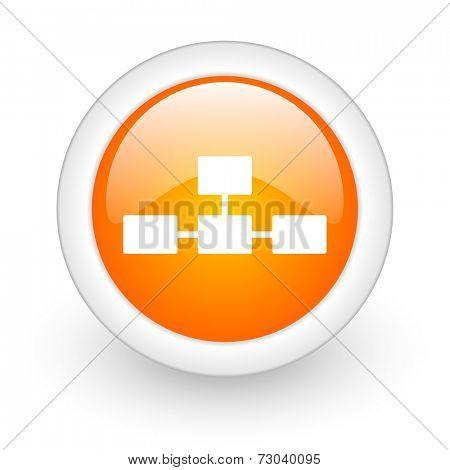 database orange glossy web icon on white background