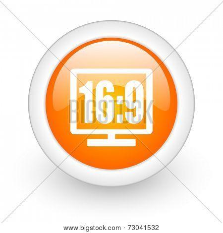 16 9 display orange glossy web icon on white background