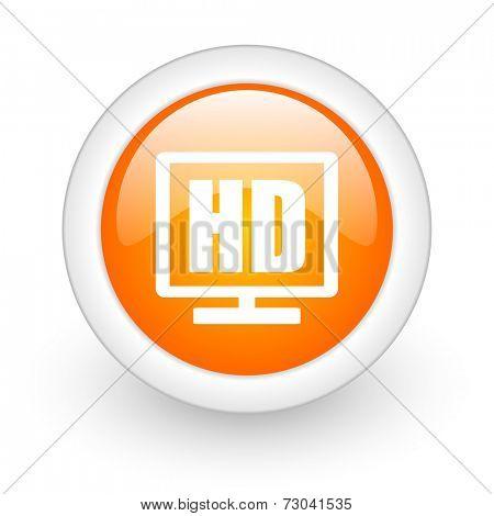hd display orange glossy web icon on white background