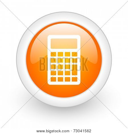 calc orange glossy web icon on white background