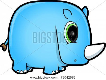 Cute Blue Safari Rhino Vector Illustration Art