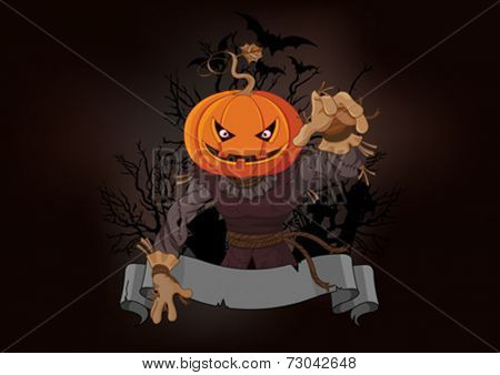 Illustration of very scary scarecrow with a pumpkin head
