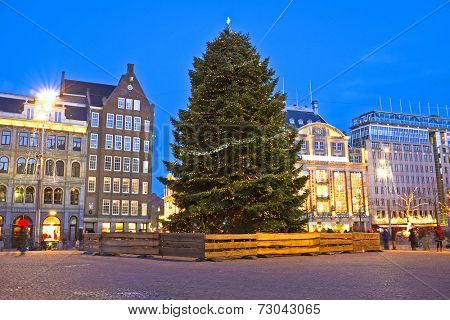 Damsquare in Amsterdam at christmas in the Netherlands