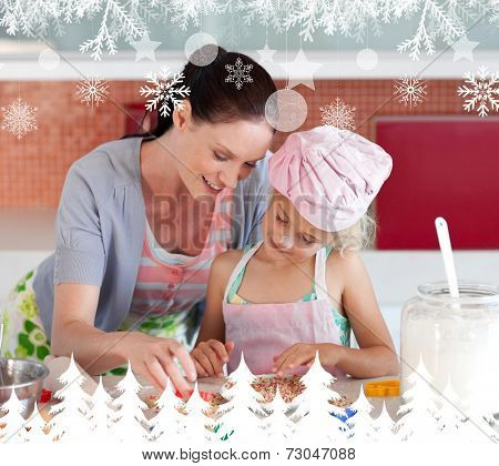 Delighted mother and her daughter baking in a kitchen against fir tree forest and snowflakes