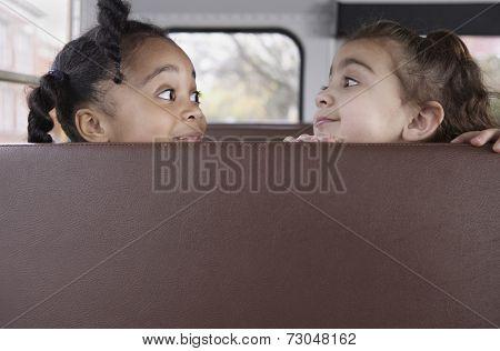 Profile of girls on school bus