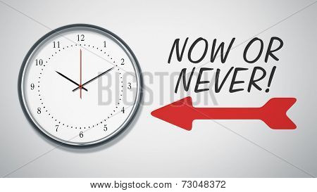 A clock at the wall with text now or never