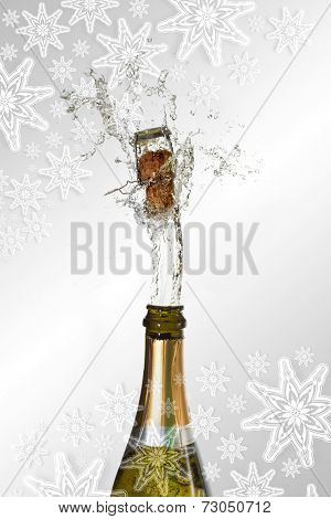 Composite image of snowflakes on silver against champagne cork popping