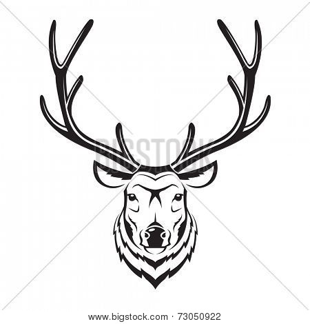 monochrome image of an deer head