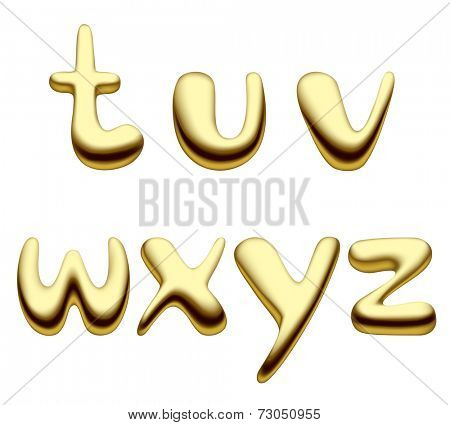 Vector image of gold alphabet small letters