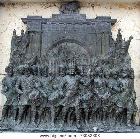 KOLKATA,INDIA - NOVEMBER 27: Bronze memorial panel at the Victoria Memorial building in Kolkata, West Bengal, India on November 27,2012.