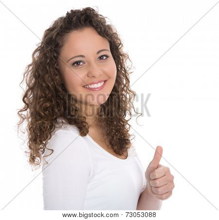 Successful pretty isolated young woman making thumb up gesture over white background.