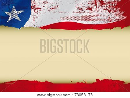 Chile used flag. An chilean grunge flag with a large frame for your message. Ideal to use for a screen
