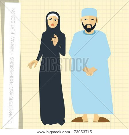 Muslim couple in flat modern style. Vector illustration.