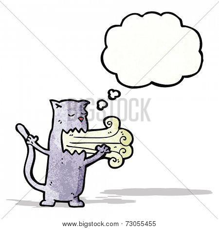 cartoon cat with bad breath