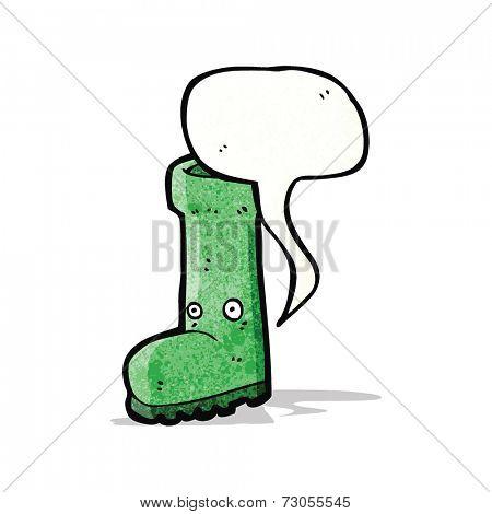 cartoon wellington boot with speech bubble