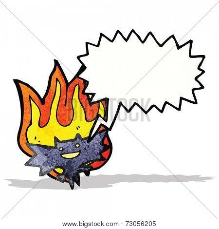 cartoon bat flaming