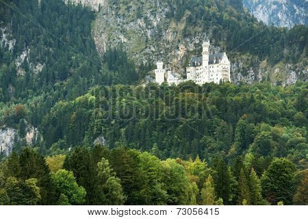 Beautiful aerial view of Neuschwanstein Castle and in the background Hohenschwangau Castle with the alp lake