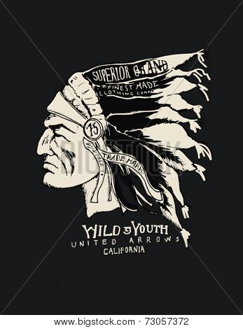 Indian chief wearing traditional headdress 2