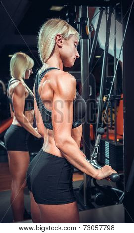 fitness woman doing triceps exercises in the gym. Fitness girl in black sport wear with perfect body in gym exercising