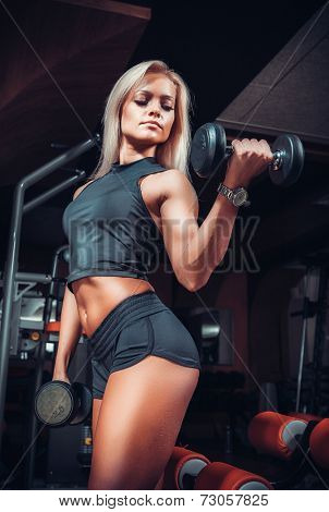 fitness woman doing exercises with dumbbell in the gym. Fitness girl in black sport wear with perfect body performing biceps exercises