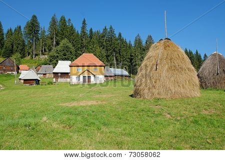 haystack and Kamena Gora village, Serbia