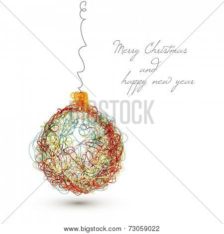 Vector christmas decoration - simple continuous line drawing