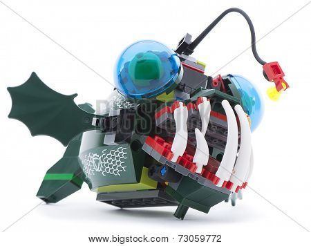 Ankara, Turkey - June 21, 2013: Lego Atlantis Angler Attack isolated on white background.
