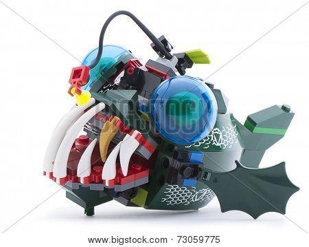Ankara, Turkey - June 21, 2013: Lego angler fish isolated on white background.