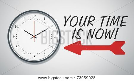 A clock at the wall with text your time is now