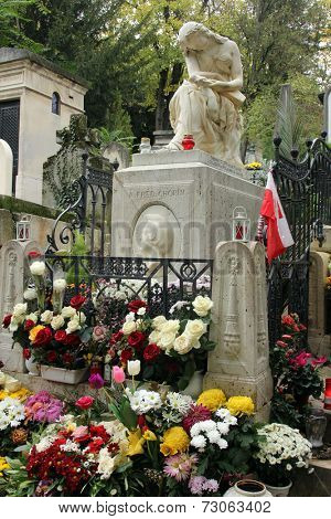 PARIS, FRANCE - NOVEMBER 07, 2012: Tomb of Frederic Chopin, famous Polish composer, at Pere Lachaise cemetery in Paris, France, on November 07, 2012