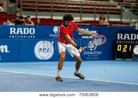 SEPTEMBER 23, 2014 - KUALA LUMPUR, MALAYSIA: Philipp Oswald from Austria makes a backhand return in his first round match at the Malaysian Open Tennis 2014 event. This is an ATP sanctioned tournament.