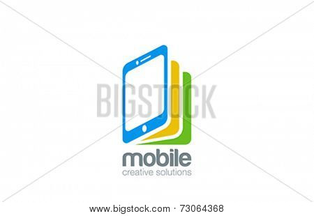 Mobile phone shop Logo design vector template. Smartphone as book idea. E-reading Education logotype. On-line store. Application icon concept.